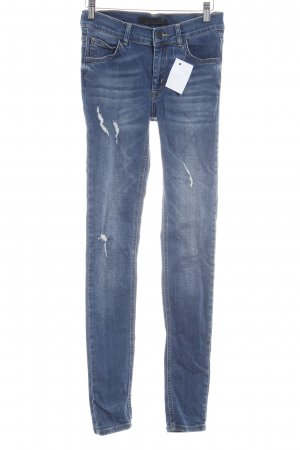 Just Female Slim Jeans stahlblau Destroy-Optik
