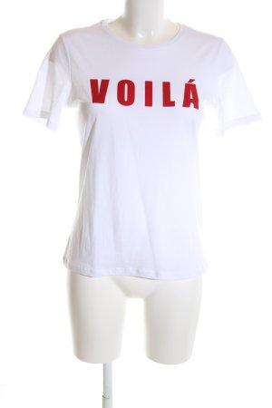 Just Female T-Shirt weiß-rot Schriftzug gedruckt Casual-Look