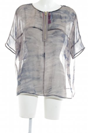 Just Female Transparenz-Bluse grau-dunkelblau Batikmuster Boho-Look