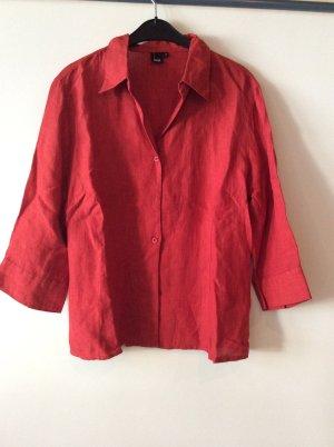 Blusa de lino rojo oscuro
