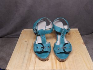 Wedge Sandals petrol textile fiber