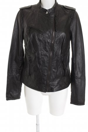 Just Once Leather Jacket dark brown casual look