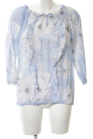 Just White Blouse à volants bleu-blanc imprimé allover style décontracté