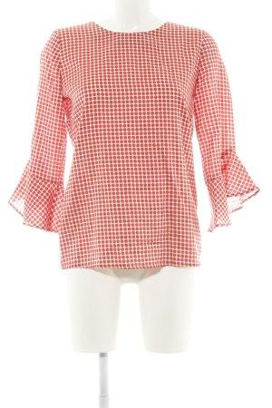 Just White Schlupf-Bluse rot-wollweiß Punktemuster Elegant
