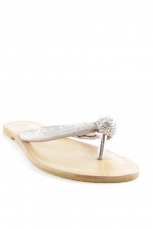 Just Woman Chanclas color plata brillante