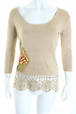 Just Woman Strickshirt beige Blumenmuster Materialmix-Look