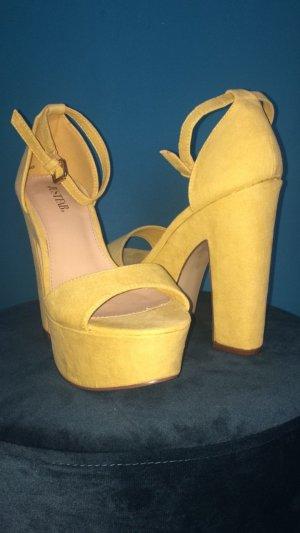 JustFab High Heel Sandal yellow cotton