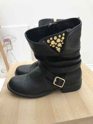 JustFab Botas moteras color oro-negro
