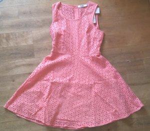 Justfab Kleid mit Lochstickerei Skaterkleid rosa pfirsich neu Gr. 40