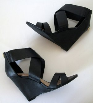 Just Fab Wedge Sandals black imitation leather