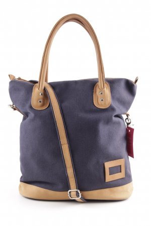 Burlap Bag dark blue-cognac-coloured casual look