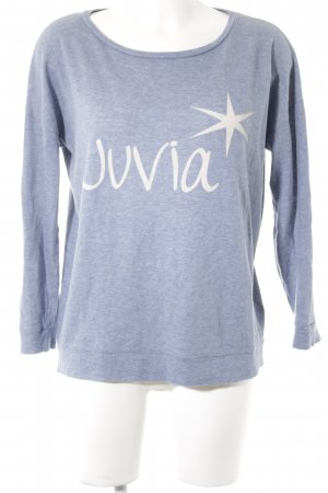 Juvia Long Sweater steel blue printed lettering casual look