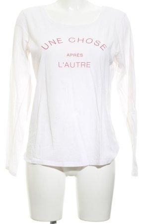 Juvia Print-Shirt weiß-magenta Schriftzug gedruckt Casual-Look