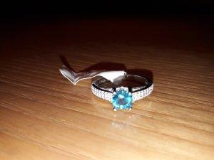 Juwelkerze Ring silber/hellblau/glitzer 925er Silber S 52-54 NEU
