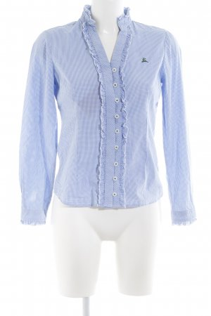 K & K Kaiserjäger Camisa folclórica azul celeste-blanco puro estilo medieval
