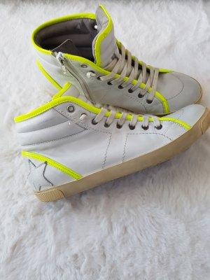 K&S Hightop-Sneaker im Used-Look, Gr.38, Leder, offwhite/neongelb