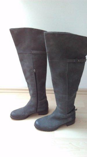 Overknees grey leather