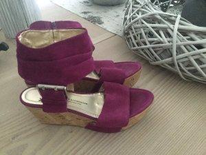 K&S Plateau Kork Sandalen Sandaletten pink rosa Gr. 40 echt Leder Clogs
