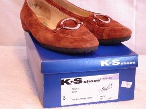 K+S Shoes, Ballerina, Gr. 39 (6), Velourleder, rostbraun