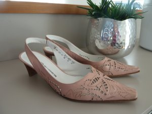 K&S Slingpumps Gr. 40 nude rosé  butterweiches Leder Cut-Out WIE NEU!!!