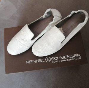 K + S Slipper Loafer Brautschuhe bequem weiß Leder Größe 36,5 fast NEU