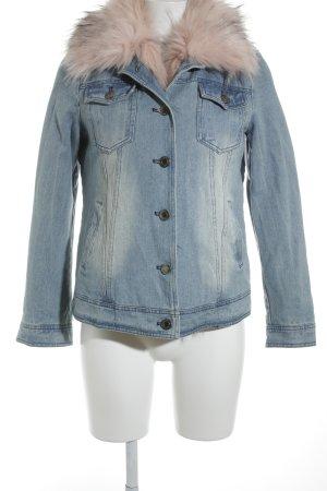 K.Zell Jeansjacke graublau-rosa Street-Fashion-Look