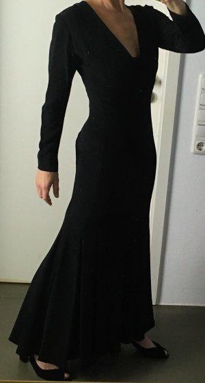 * KÄTHE KRUMHOLZ * Abendkleid Maxi langarm schwarz Mermaid - maßgeschneidert - Gr ca 38 M 36 S