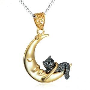 Kätzchen im Mond 925 Sterling Silber