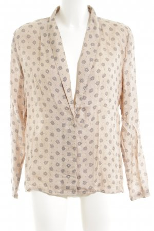 Kaffe Langarm-Bluse creme-braun Allover-Druck Casual-Look