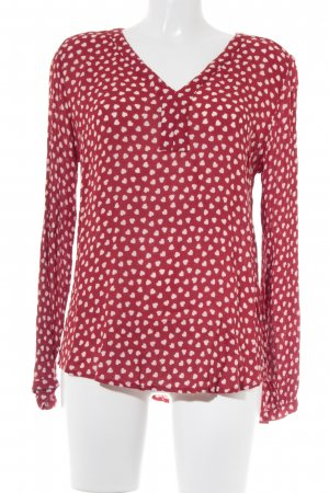 Kaffe Langarm-Bluse rot-weiß Herzmuster Casual-Look