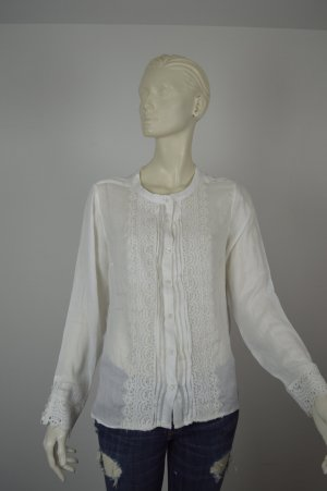 "Kaffe ~lockere Tunikabluse ""Betty"" Shirt Spitze offwhite ~ NEU Gr 38 M"