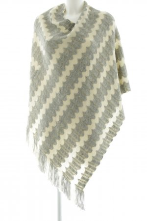 Kaffe Poncho light grey-cream striped pattern casual look