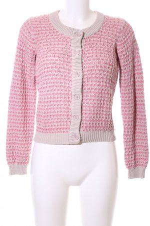 Kaffe Strick Cardigan wollweiß-pink abstraktes Muster Casual-Look