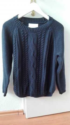 Kaffe Strickpullover blau Zopfmuster Pullover dick Wolle S 36