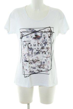 Kaffe T-Shirt weiß abstraktes Muster Casual-Look