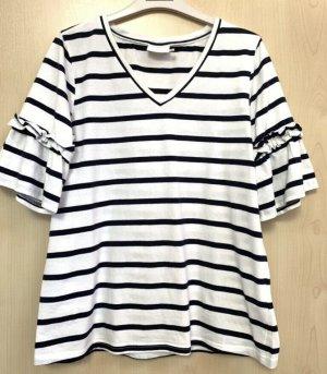 Kaffe T-Shirt gestreift schwarz weiß  M