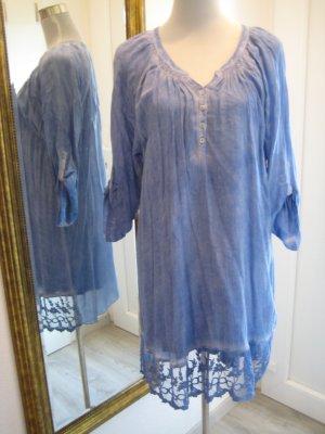 Kaffe Tunika Kleid Blau mit Spitze Gr 40  Langarm 3/4 Arm