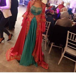 Evening Dress magenta-turquoise