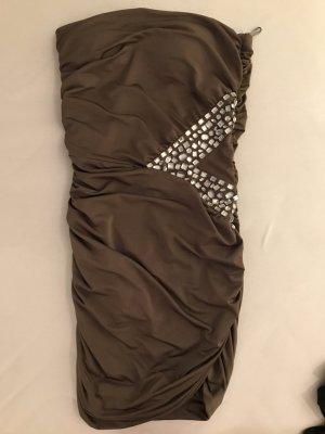 kahaki offshoulder Kleid mit Swarovskisteinen