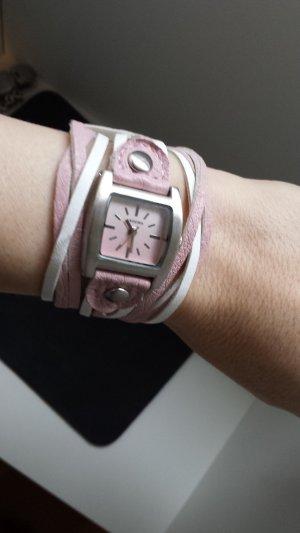 Kahuna Armbanduhr Leder weiß / rosa