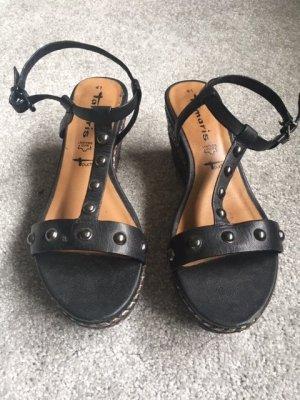 Tamaris Platform High-Heeled Sandal black leather