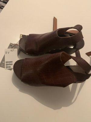 H&M Premium Sandalo con plateau marrone scuro-marrone Pelle