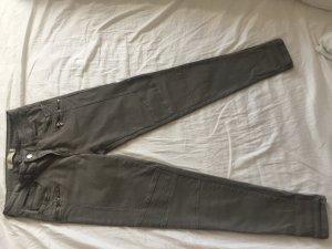 Zara Trafaluc Low-Rise Trousers green grey cotton
