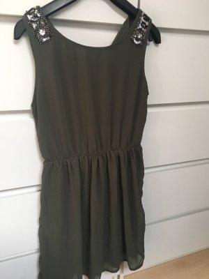 Kaki Kleid mit Applikationen