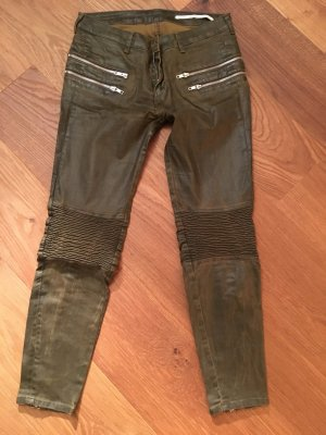 Zara Pantalon 7/8 vert forêt-vert olive faux cuir