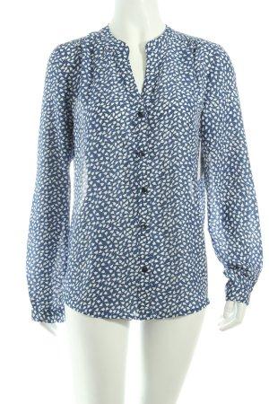 Kala Langarm-Bluse kornblumenblau-weiß florales Muster Business-Look