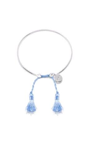 KALAIKA Armreif verstellbar, 925 Sterlingsilber, Quaste Maya blue