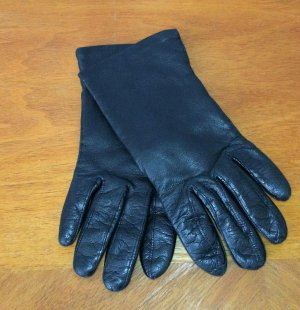 Kalbsleder Handschuhe schwarz Vintage Gr. 6,5