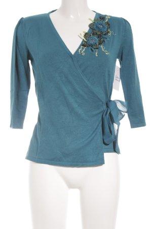 Kaliko V-Ausschnitt-Pullover petrol-blassgrün florales Muster Perlenverzierung