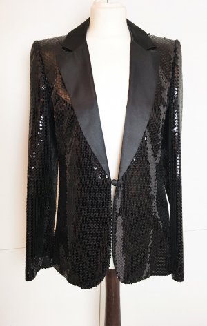 * KALR LAGERFELD für H& M * festlicher BLAZER PALLIETTEN schwarz Gr 38 -TOP ZUSTAND !